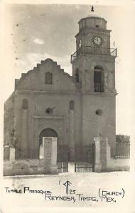 RPPC  REYNOSA, MEXICO   Real Photo TEMPLO PARROQUIAL  Church 1947   Postcard