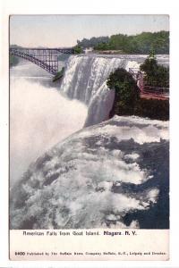 Interesting Colouring, American Falls from Goat Island, Train Bridge, Niagara...