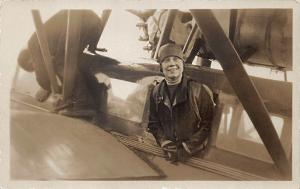 Old Orchard ME Mrs Grayson in The Dawn Women Aviator RPPC Real Photo Postcard
