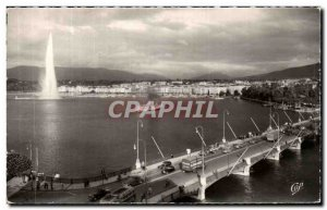 Modern Postcard Geneve Mont Blanc Bridge The water jet and the harbor