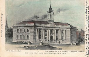 New Town Hall, Stamford, Connecticut, Early Hand Colored Postcard, Used in 1907