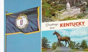 Greetings From Kentucky Showing State Flag State Capitol and Man O'...