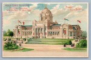 HOLD TO LIGHT 1904 WORLD'S FAIR ST.LOUIS ANTIQUE POSTCARD HTL MO STATE BUILDING