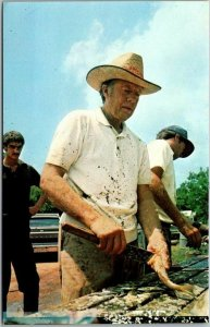 President JIMMY CARTER Postcard Cleaning Fish at Billy's Gas Station, Aug 1976
