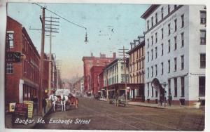 P825 1912 old horse wagons bangor maine exchange street scene