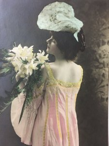 1900s Pretty Woman Beauty Lady Margaret Anglin Nightgown RPPC Tint Postcard Hat