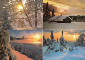 Norway Sunset 4x Stunning Shimmer Shine Postcard s