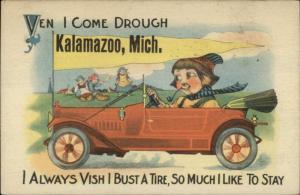 Kalamazoo MI Dutch Auto Car Pennant Greeting c1915 Postcard #2