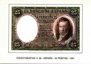 spain, Veinticinco 25 Pesetas 1931, BANKNOTES Modern Money Postcard
