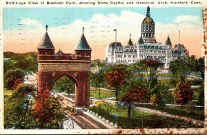 Connecticut Hartford Birds Eye View Of Bushnell Park Showing State Capitol an...