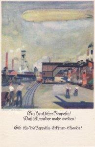 Poster art postcard by Otto AMTSBERG; Zeppelin, 1920s ; #7