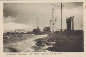Nordseebad Cuxhaven , Germany  , PU-1924; Alte Liebe Signalstation bei Sturm