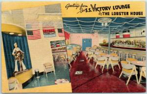 1940s Charlestown MA Postcard S.S. VICTORY LOUNGE Lobster House - Linen c1940s