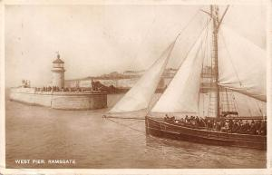 Kent, Thanet, Ramsgate, West Pier, ship, lighthouse, Real Photograph