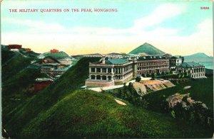 Hong Kong China Militar Quarters Encendido El Pico 1910s Unp Tarjeta Postal