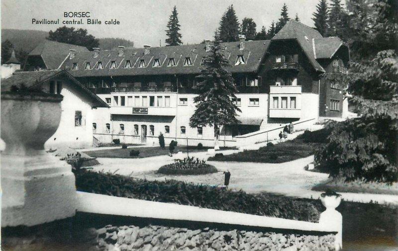 Postcard Romania Borsec pevilionul central baile calde strand parc peisaj
