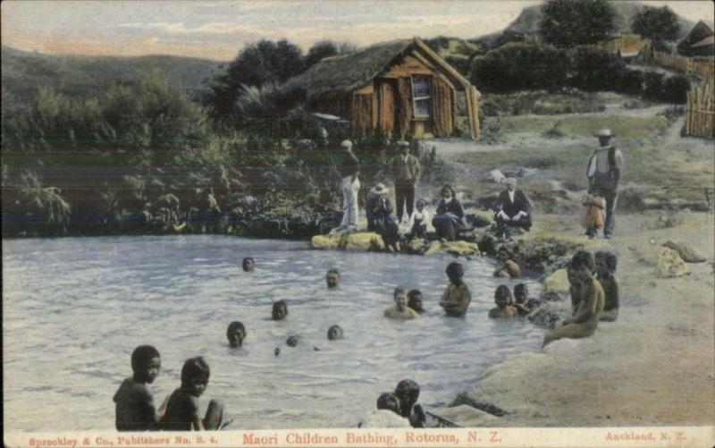 Rotorua New Zealand Maori Children Bathing c1910 Ethnography Postcard