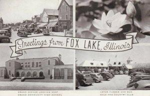 FOX LAKE , Illinois, 1930-50s; Greetings, Grand Avenue and 3 more views