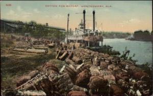 Montgomery AL Cotton Shipping Steamer Boat c1910 Postcard EXC COND