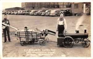 St Paul Minnesota~TJ Strupp Inventor~Miniature Locomotive~Thresher~c1930 RPPC