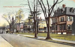 Pawtucket Rhode Island~Park Place~Residential Scene~Church in Distance~1909 Pc
