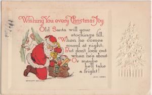 SANTA CLAUS Postcard MERRY CHRISTMAS 1912 G.A. Company John Hobbs S101