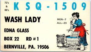 Bernville, PA Postcard CB Radio QSL CARD Wash Lady Edna Glass c1960s Unused