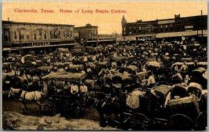 1910s Clarksville, Texas Postcard Downtown Scene Home of Long Staple Cotton