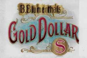 H-016 - Gold Dollar Repro Antique Cigar Box Label RPPG Picture Po...