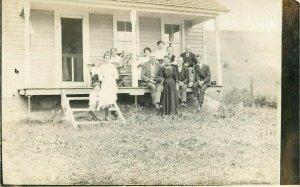 Postcard RPPC Family On Porch
