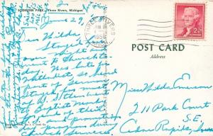 Three Rivers Michigan~Scidmore Park~Stone Lighthouse~1958 Postcard