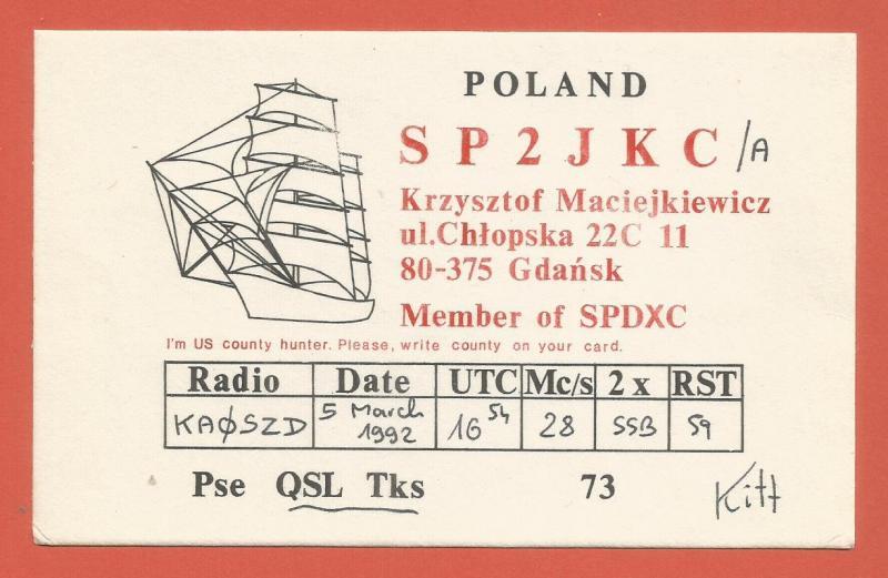 QSL AMATEUR RADIO CARD – GDANSK, POLAND – 1992 – SHIP DESIGN