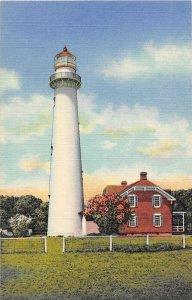 Lighthouse St Simons Island Georgia linen postcard