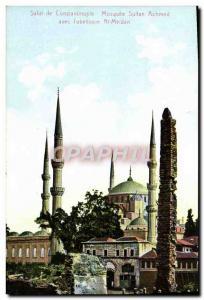 Old Postcard Hi De Constantinople Mosque Sultan Achmed With L & # 39Obelisque...