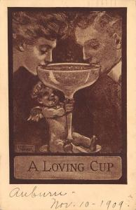 Lou Mayer~Cupid Steadies Loving Cup~Couple Sips Out of Single Wine Goblet~1909