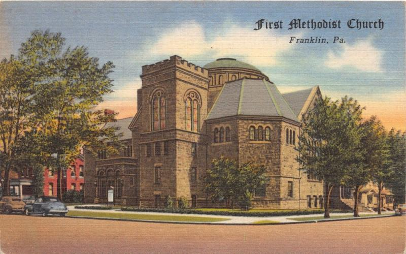 FRANKLIN PENNSYLVANIA FIRST METHODIST CHURCH LIBERTY & ELEVENTH POSTCARD c1940s