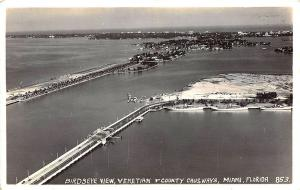 Miami FL Birdseye View Causeways Before Development RPPC Postcard