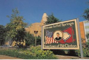 Arkansas Welcome To Hot Springs Hometown Of Bill Clinton Hand Painted Sign On...