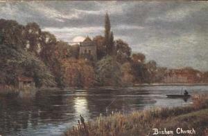 Bisham Village Church River Bucks Buckinghamshire Antique Postcard