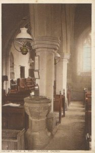 Northamptonshire Postcard - Visitor's Table & Font, Sulgrave Church - Ref 13045A