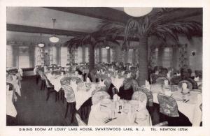 Dining Room, Louis' Lake House House, Swartswood, N.J.,  Early Postcard, Unused