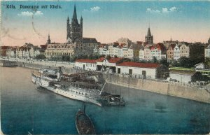 Postcard Germany Koln panorama mit rhein boat church engineering architecture