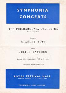 Julius Katchen Royal Festival Hall Classical 1962 Theatre Programme