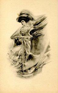 Lady & Dog in Carriage - Artist: M. Farini  (B&W)