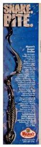 c1988 Tom Mann's Snake Bite Fishing Lure Print Ad Old Fishing Lure