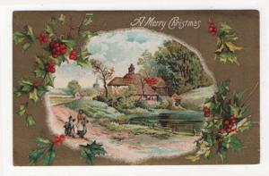 Vintage Christmas Greetings PC,  Mother & Children Walking a Country Path, 1910