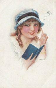 USABOL ; Woman reading a book , 1917