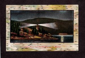 NY Hudson River Light Lighthouse Old Cro'Nest New York Birch Bark Postcard