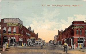 C16/ Fargo North Dakota ND Postcard 1915 N.P Ave Stores Bristol Orpheum Theatre