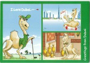 UAE Middle East Postcard, Greetings from Dubai, Cartoon Camels IC7